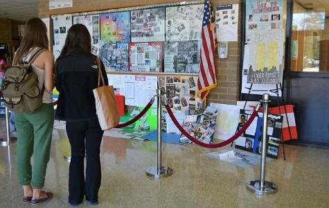 ERHS students view ROTC posters commemorating the lives lost on 9/11.