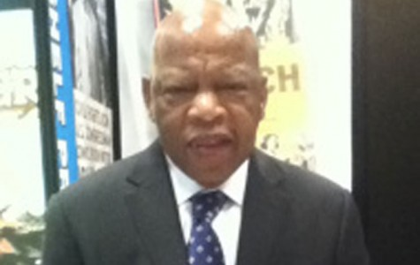 John Lewis poses for a picture at the Book Expo America in New York City.