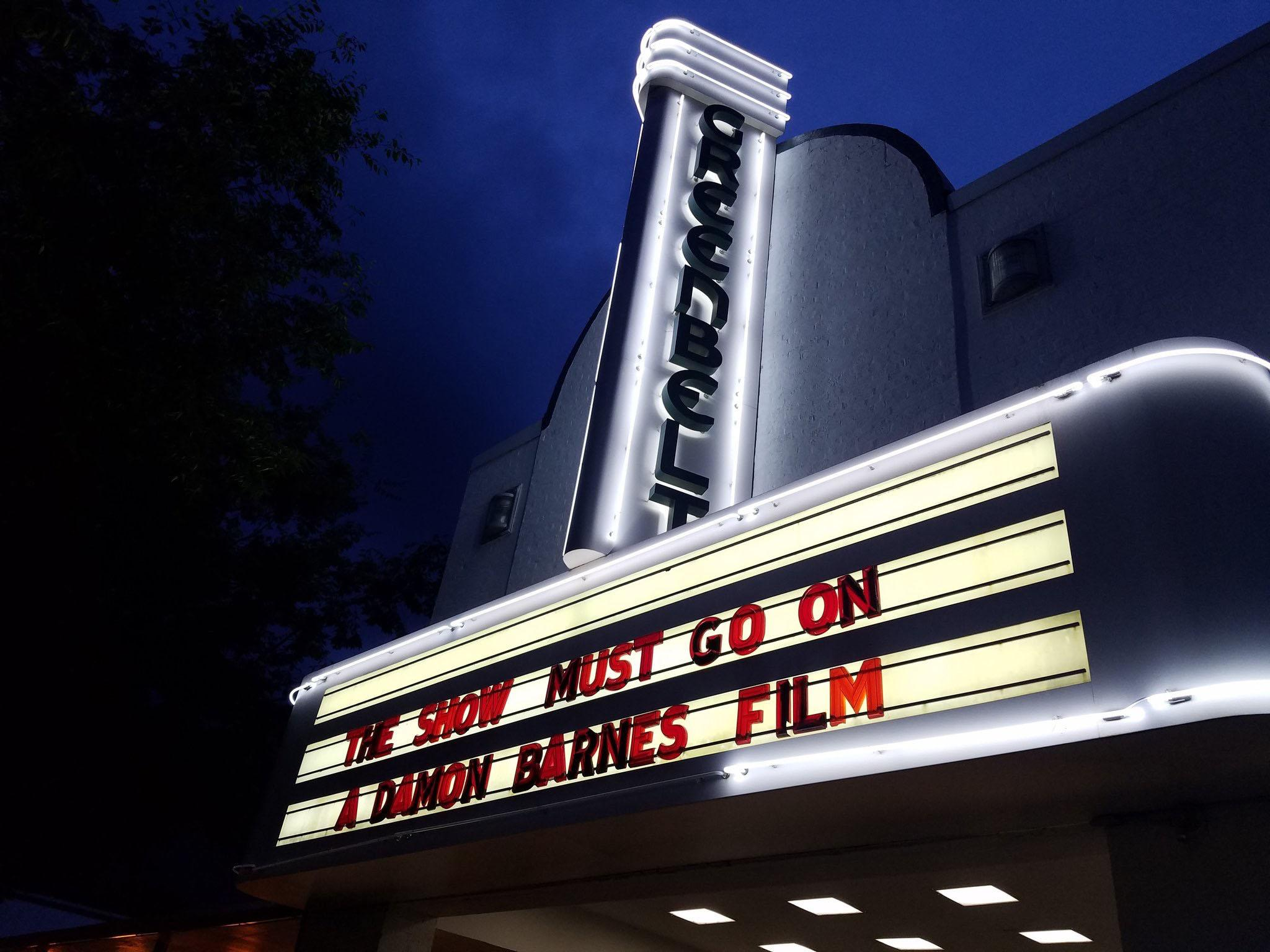 Historic Greenbelt Theatre marquee on premiere night