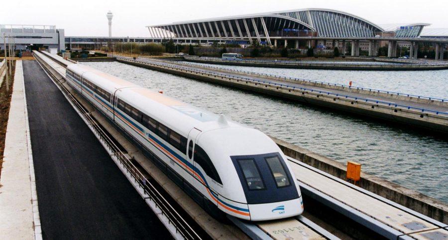 A+Maglev+train+in+China.+
