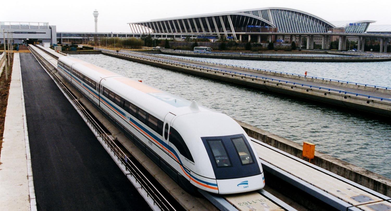 A Maglev train in China.