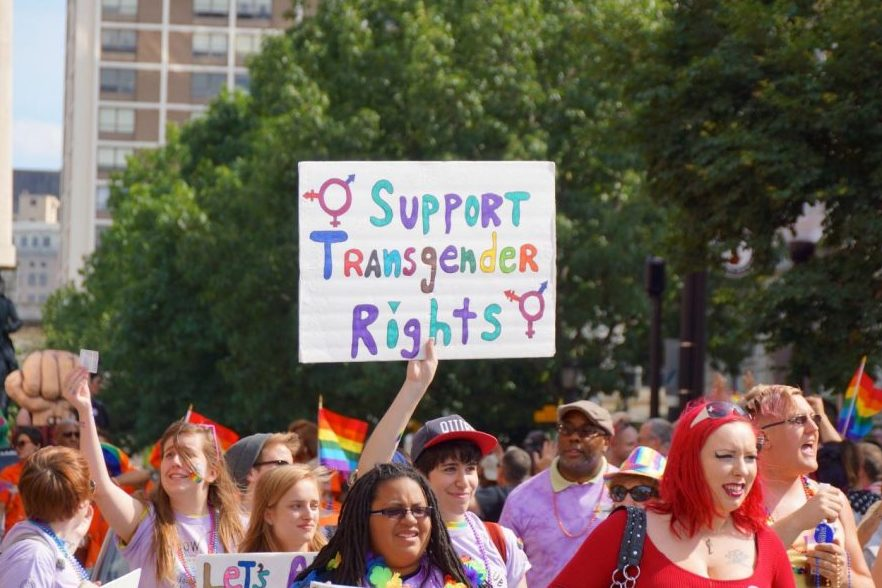 LGBTQ+ Rights Supporters marching at Baltimore Pride