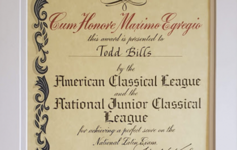 ERHS Student Earns Perfect Paper Certificate on National Latin Exam