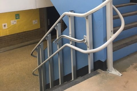 The wheelchair lift in the East stairwell
