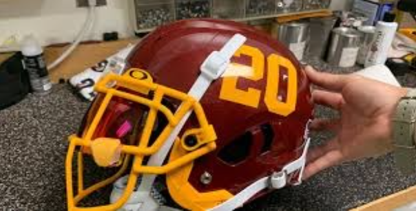 The team's helmet without the old mascot.