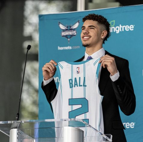 Lamelo being drafted to the Charlotte Hornets.