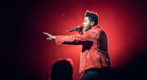 "A picture of The Weeknd at at previous performance. ""The Weeknd, Oslo Spektrum 2017"" by NRK P3 is licensed under CC BY-NC-SA 2.0"